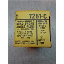 Hubbell 7251C Insulgrip Dead Front Angle Plug 20A, 125/208V, 4 Pole, 4 Wire