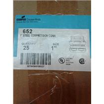 """Crouse-Hinds 652 Emt Compression Connector, 1"""", Steel Box Of 25"""