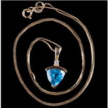"10k Yellow Gold Swiss Blue Topaz & Diamond Pendant W/ 18"" Chain 2.215ctw"
