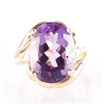 10k Yellow Gold Oval Cut Amethyst Solitaire Cocktail Ring Ring 8.75ct