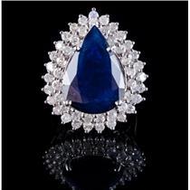 14k White Gold Pear Cut Sapphire & Round Cut Diamond Cocktail Ring 18.75ctw
