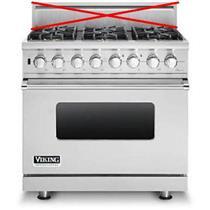 "Viking Professional Series 36""  Pro-Style Convection Dual-Fuel Range VDSC5366BSS"