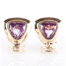 14k Yellow Gold Trillion Cut Amethyst Huggie Earrings W/ Diamond Accents 5.46ctw