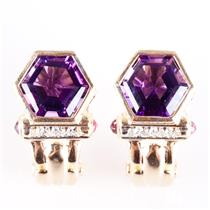 14k Yellow Gold Hexagon Cut Amethyst / Diamond / Ruby Huggie Earrings 5.48ctw