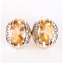 10k Yellow Gold Oval Cut Citrine & Round Cut Diamond Stud Earrings 2.49ctw