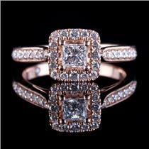 "14k Rose Gold Princess Cut ""Leo""  Diamond Halo Engagement Ring .96ctw"