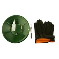 """12"""" Green Gold Pan Kit + Rubber Gloves,  Magnet, Snuffer Bottle & 1"""" Vial"""