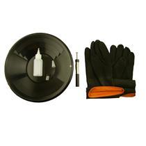 """12"""" Black Gold Pan Kit + Rubber Gloves,  Magnet, Snuffer Bottle & 1"""" Vial"""