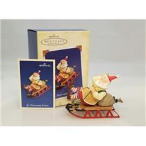 Hallmark Series Ornament 2005 Toymaker Santa #6 - Santa Sledding - #QX2205
