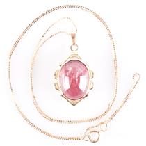 14k Yellow Gold Oval Cabochon Cut Pink Tourmaline Solitaire Necklace 8.27ct