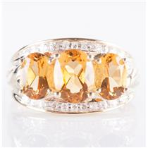 10k Yellow Gold Oval Cut Citrine & Diamond Three-Stone Cocktail Ring 2.97ctw