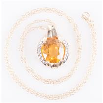 "10k Yellow Gold Oval Cut Citrine & Diamond Pendant W/ 18"" Chain 4.82ctw"