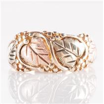 10k Multi-Tone Black Hills Gold Floral / Leaf Style Ring 4.4g Size 8