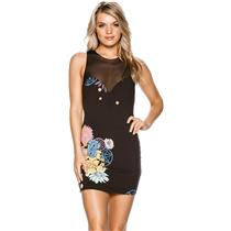 M NEW Free People Ikebana Sleeveless Bodycon Floral Mini Dress VNeck Mesh Panel