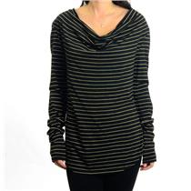 M NWT Bobi Black Gold Lurex Metallic Stripe Cowl Neck Jersey Long Sleeve Top