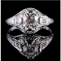 Vintage 1920's Platinum Diamond Solitaire Engagement Ring W/ Accents 1.22ctw