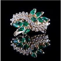 14k Yellow Gold Marquise Cut Emerald & Round Cut Diamond Cocktail Ring 1.20ctw