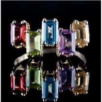 10k Yellow Gold Emerald Cut Multi-Gemstone Cocktail Ring 3.20ctw