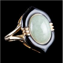 14k Yellow Gold Oval Cabochon Cut Jade & Onyx Cocktail Ring 5.90ct