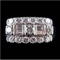 Vintage 1950's 14k White Gold Round & Baguette Cut Diamond Cocktail Ring 1.26ctw