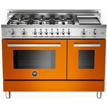 "Bertazzoni Professional Serie 48"" Orange Pro-Style Dual Fuel Range PRO486GDFSAR"