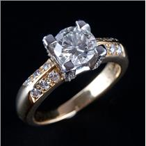 18k Yellow Gold & Platinum Diamond Solitaire Engagement Ring W/ Accents 1.77ctw