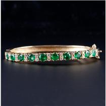 18k Yellow Gold Round Cut Emerald & Diamond Hinged Bangle Bracelet 3.49ctw