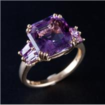 14k Yellow Gold Asscher Cut Amethyst Solitaire Cocktail Ring W/ Accents 3.48ctw