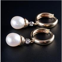 14k Yellow Gold Freshwater Cultured Pearl & Diamond Huggie Dangle Earrings .12ct