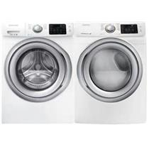 Samsung White Front Load Steam Washer and Dryer Set WF42H5200AW / DV42H5200EW