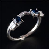 14k White Gold Square Cut Sapphire & Diamond Ring Enhancer / Guard .38ctw