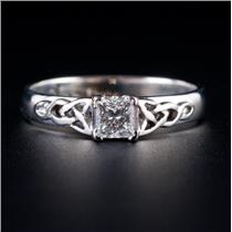 14k White Gold Princess Cut Diamond Solitaire Celtic Knot Engagement Ring .30ct
