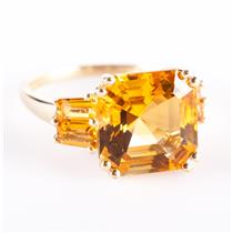 14k Yellow Gold Asscher Cut Citrine Solitaire Cocktail Ring W/ Accents 3.38ctw