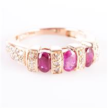 14k Rose Gold Oval Cut Ruby & Round Cut Diamond Cocktail Ring 1.40ctw