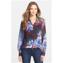 XS NWT KUT from the Kloth 'Quinn' Sheer Floral Print Top Black Blue Red Flowers