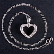 "10k White Gold Round Cut Diamond Heart Pendant W/ 16"" Chain .05ctw"