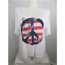 INC International Concepts Woman 3X White Embellished Peace Sign Slub Knit Top