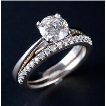 18k White Gold & Platinum Round Cut Diamond Solitaire Engagement Ring Set 1.14ct