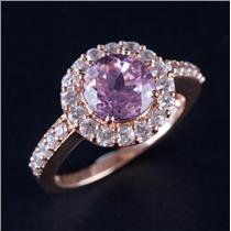 14k Rose Gold Round Cut Pink Topaz & White Topaz Halo Engagement Ring 3.40ctw