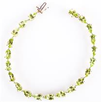 "10k Yellow Gold Pear Cut ""A"" Peridot Tennis Bracelet 19.95ctw"