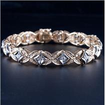 14k Yellow & White Gold Two-Tone Round Cut Diamond Heavy Bracelet 3.22ctw 35.1g