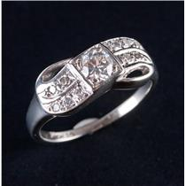 Vintage 1920's 14k White Gold Old Euro Transitional Diamond Ribbon Ring .51ctw