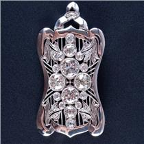 Vintage 1930's Platinum Diamond Large Heavy Brooch / Pendant 5.88ctw 18.0g