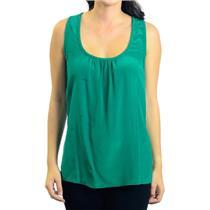P NEW Trina Turk Davian Top Emerald Green Racer Back Silk Blouse w/Zig Zag Trim