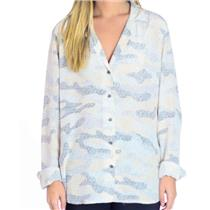L NEW Equipment Gray Printed Adalyn 100% Silk Button Down Long Sleeve Blouse