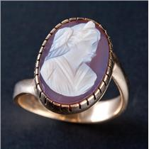"Vintage 1930's 14k Yellow Gold Oval Cut ""A"" Agate Female Bust Cameo Ring 4.9g"