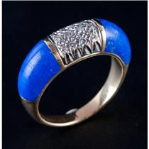 Vintage 1960's 18k Yellow Gold Inlay Cut Lapis Lazuli & Diamond Ring .18ctw