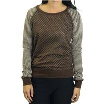 XS NWT KUT from the Kloth Jessica Knit Raglan Shirt Brown White Polka Dot/Stripe