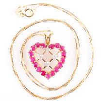 "10k Yellow Gold Round Cut Ruby & Diamond Heart Pendant W/ 18"" Chain 1.59ctw"