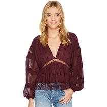 L NEW Free People Nostalgic Feels Blouse in Plum